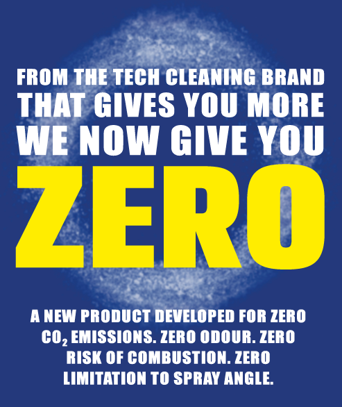 From the tech cleaning brand that always gives you more, we now give you ZERO! - A NEW PRODUCT DEVELOPED FOR ZERO C02 EMISSIONS. ZERO ODOUR. ZERO RISK OF COMBUSTION. ZERO limitation to spray angle.
